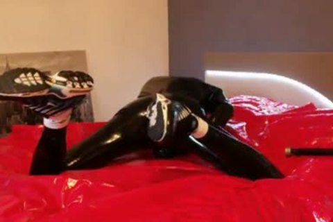 juvenile wanking In darksome Latex moist Very Very large penis