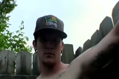 lustful Tattooed Thug Lex Is Getting His dong Out In A Yard