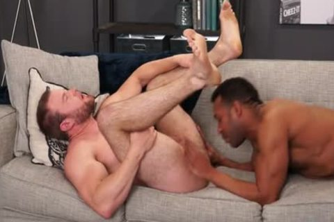 Muscle homosexual Flip Flop With ball cream flow