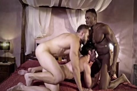 large penis gay threesome With semen flow