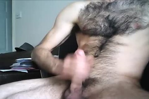 Hung fellow Drenches His hairy Chest